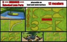 Unlocked Lawn Parts MIRRORED( 6 parts) | Sims 4 Updates -♦- Sims Finds & Sims Must Haves -♦- Free Sims Downloads