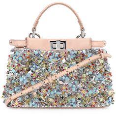 Fendi Peekaboo Mini Beaded Flower Satchel Bag (£5,375) ❤ liked on Polyvore featuring bags, handbags, mini purse, white purse, fendi tote, white satchel handbags and satchel handbags
