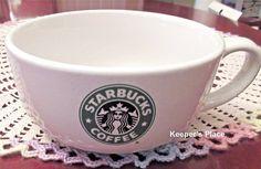 Starbucks Large Coffee Soup Mug 2008 Mermaid Emblem 18 Ounces Green Black #Starbucks