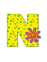 "The letter N, in the alphabet set ""Zany Dots"", is yellow with multi-colored circles covering letter's surface. Large purple and orange flower finishes the decoration. Letter N, Orange Flowers, Kids Rugs, Symbols, Stock Photos, My Love, Illustration, Yellow, Decoration"