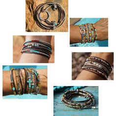 Bohemian Western Leather Wrap Bracelets by fleurdesignz on Polyvore
