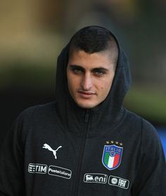 Marco Verratti of Italy looks on prior to the training session at Italy club's training ground at Coverciano on November 7, 2017 in Florence, Italy. - 87 of 102