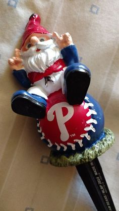 PHILADELPHIA PHILLIES MLB Baseball Garden Gnome Plant Pick Stake 2014 Team Beans