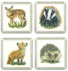 Fawn, Badger, Fox & Hedgehog Coaster cross stitch Set