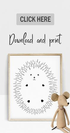 Come shop with me! :) Hedgehog Illustration - 16x20 Art Print
