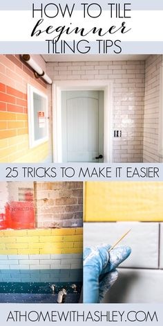 beginner tiling tips and tricks. If you're laying subway tile in a small bathroom on the walls and in the shower, come see a tutorial on how to diy it for yourself #diy #diyhomedecor