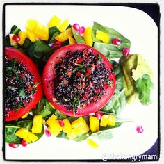 Herbed Quinoa Stuffed Tomatoes with Spicy Guacamole