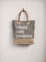 CREATE, CARE, CONSERVE Tote Bag from Mona B