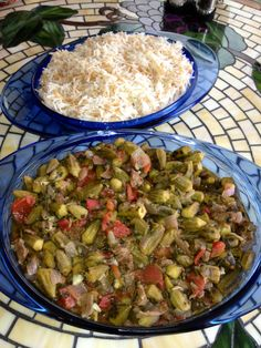 okra cilentro garlic and meat stew with basmati rice recipe in book 2 lilo's lebanese cuisine available at amazon.com and createspace.com