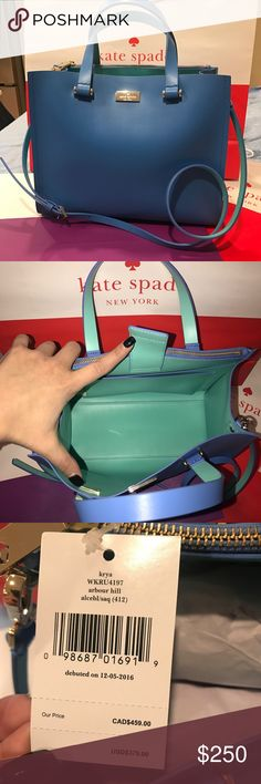 ♈️$200! Kate Spade Arbour Hill Blue GORGEOUS for spring! Beautiful periwinkle blue with teal interior. Features cross body strap and multiple pockets for a great functioning bag! Get ready for spring with this BEAUTY! 💙💙🅿️$220!♈️$200! kate spade Bags Crossbody Bags