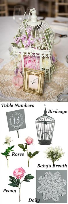 Fill vintage birdcages with your favorite faux flowers to recreate this look.  Think about antique pink roses and baby's breath to give your centerpieces a vintage look.  Find everything you need to DIY this look for less at Afloral.com.