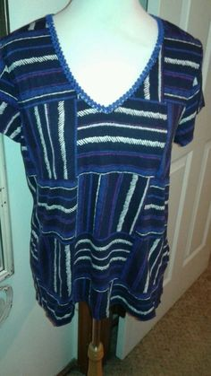 Lucky Brand Ladies knit top blouse. Black/purple/Blue SZ XL woven blue trim  #LuckyBrand #KnitTop #Casual