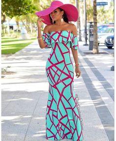 Off shoulder ankara maxi dress