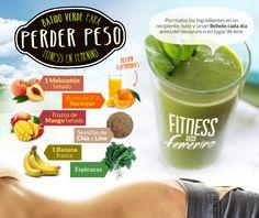 Batido verde para perder peso. Fitness en Femenino.