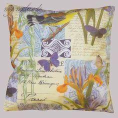 Kissenhülle mit Textildruck Vogel, Schmetterlinge & Blumen  Wunderschöne Kissenhülle 40 x 40 cm mit sommerlichem Motiv. Ideal für die Küche, das Wohnzimmer, die Terrasse oder den Balkon.
