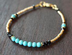 Turquoise and gold beaded bracelet gold friendship bracelet