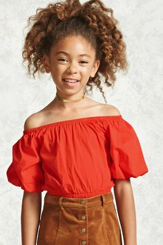 Forever 21 Girls - A woven top featuring an elasticized off-the-shoulder neckline, short puff sleeves, and an elasticized hem.