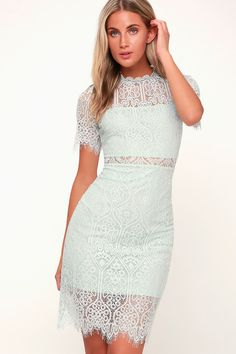 e390e64026ade8 Lulus Exclusive! The Remarkable Light Mint Blue Lace Dress is the perfect  frock for any
