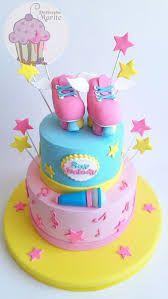 Imagem relacionada Roller Skating Party, Skate Party, Beautiful Birthday Cakes, Beautiful Cakes, Soy Luna Cake, Fondant Cakes, Cupcake Cakes, Bolo Laura, Roller Skate Cake