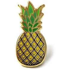 PINTRILL 'Pineapple' Fashion Accessory Pin ($12) ❤ liked on Polyvore featuring jewelry, brooches, yellow, tri color jewelry, pineapple jewelry, multi colored jewelry, pin brooch and yellow jewelry