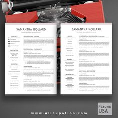 @allcupation Creative Resume Template, Modern CV Template, Word, Cover Letter, References, Instant Download, Mac, PC, SAMANTHA | Allcupation.com | We Help You Create Powerful Resume and Win The Interview | #resume #template #resumetemplate