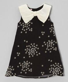 Look what I found on #zulily! Black & Cream Starry Bow Collar Dress - Toddler & Girls #zulilyfinds