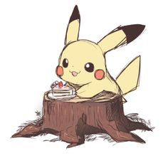 By 誘きち. Cute Pikachu with Cake.