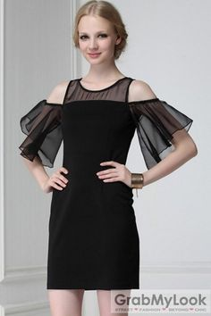 GrabMyLook Cutout Sexy Shoulders Mesh Chiffon Sleeves Black Party Cocktail Skirt Dress