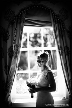 Portrait of a bride before her wedding at Denton Hall, Yorkshire by Wedding Photographer Paul Rogers