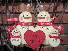 Personalized Snowman Family Ornament - Red & White Style on Etsy, $13.99