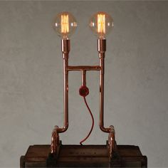 AERO - by Zapalgo - a place for unique lighting. Come in and stay with us, we now ship those beauties worldwide! Pipe Lighting, Edison Lighting, Copper Lighting, Unique Lighting, Copper Table Lamp, Copper Lamps, Steampunk Lamp, Pipe Lamp, Pipe Furniture