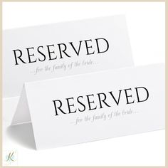 reserved table tent template