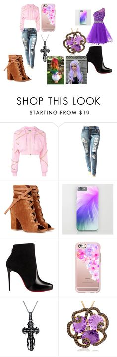 """""""Lizzie and Violet's Party Outfit"""" by lizzie12304 on Polyvore featuring Moschino, Gianvito Rossi, Christian Louboutin, Casetify and Mystic Light"""