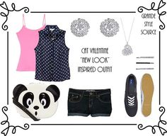 Requested By Anon: Cat Valentine New Look Inspired Outfit  Shirts:  Teens Navy Polka Dot Sleeveless Blouse|£14.99  Teens Pink Strappy Fitted Vest|£2.49  Shorts:  Teens Denim Turn Up Hotpants|£9.99  Jewelry:  Sparkling Diamante Heart Necklace|£5.99  Silver Dome Diamante Stud Earrings|£3.99  Purse:  Teens Panda Face Across Body Bag|£7.99  Shoes:  Keds Navy Champion Pump |£29.99  HairAccessories:  3pk Diamante Bling Hair Slides| £3.50