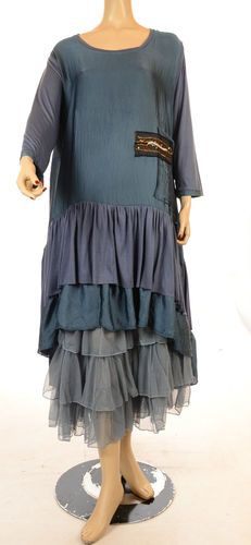 Gorgeous Blue LISSMORE Lagenlook Silk Dress & matching frilly petticoat...Ruth