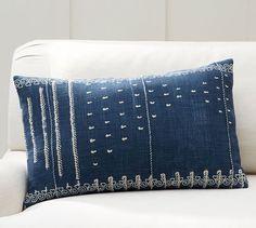 Shibori Embroidered Lumbar Pillow Cover | Pottery Barn