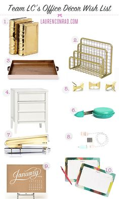 We are loving these office decor pics from Lauren Conrad-- spot on! Team LC's Wish List: Office Décor