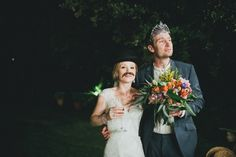 Mustache bride and a groom with a tiara | Photo by Weddings in Tuscany