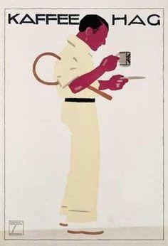 design-is-fine: Ludwig Hohlwein, poster Illustration for Kaffee Hag, Germany. Via Swann Galleries. Vintage Advertisements, Vintage Ads, Vintage Posters, Vintage Ephemera, Vintage Prints, Coffee Poster, Coffee Art, Boss Coffee, Coffee Shop
