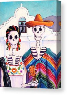 Mexican Artwork, Mexican Paintings, Mexican Folk Art, Mexican Skulls, Canvas Art, Canvas Prints, Art Prints, Canvas Ideas, Los Muertos Tattoo