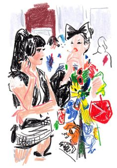 Fashion Illustration The illustrator Damien Florébert Cuypers draws the models, designers, buyers… Drawing Skills, Drawing Sketches, Art Drawings, Face Sketch, Illustrations And Posters, Fashion Illustrations, Pastel Art, Designs To Draw, Fashion Art