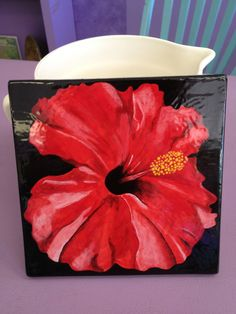 Painted pottery tile Red hibiscus