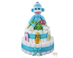 Teal Sock Monkey Diaper Cake 2 Tier by RattlecakeShop on Etsy, $69.00