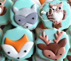 Woodland Animal Fox Owl Raccoon Deer Baby Shower First Birthday Birthday Cookies - 1 Dozen (12 Pcs) by Dolce Custom Cookies on Gourmly