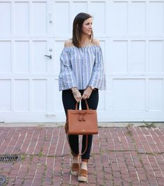 Striped Off the Shoulder Top @cobaltchronicle