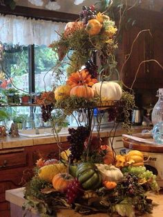 Beautiful Fall centerpiece with moss, twigs, fall vegetables & flowers with votives to light during the evening! Thanksgiving Decorations, Table Decorations, Harvest Decorations, Thanksgiving Tablescapes, Thanksgiving Ideas, Wedding Decorations, Fall Home Decor, Holiday Decor, Fall Yard Decor