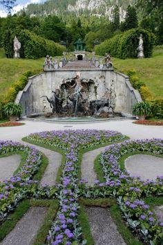 Schloss Linderhof (castle) gardens and fountain in Bavaria, Germany; Bayern, Deutschland