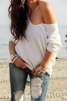 jeans off the shoulder sweater | Off-The-Shoulder Sweaters and Ripped Skinny Jeans