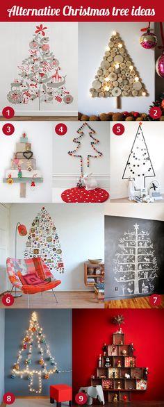 Festive+decor:+wall+Christmas+trees