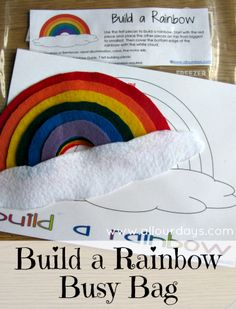 Build a Rainbow Busy Bag / Activity Bag  October 11, 2012 By Allyson 7 Comments    422  Our busy bag for today is perfect for an older toddler or preschooler, but our Kindergartner enjoys it as well. This Build a Rainbow Busy Bag reinforces visual discrimination, size sequencing, colors and fine motor skills.